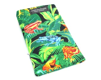 Eyeglass case for readers - Rainforest Frog fabric   checkbook case or cell phone pouch.
