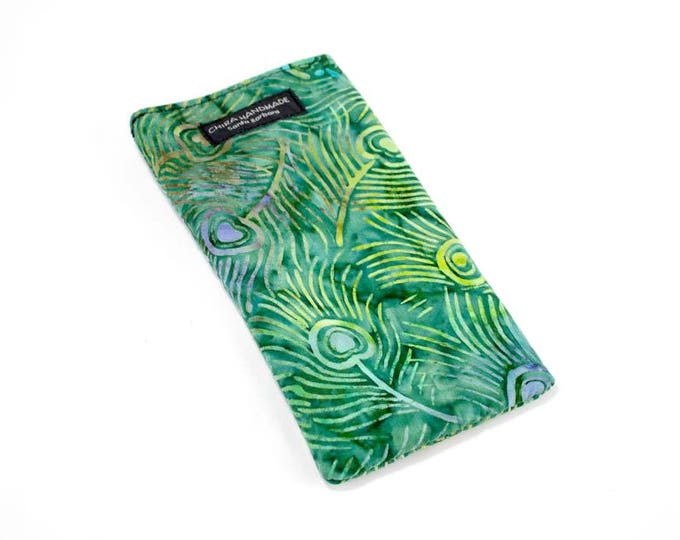Eyeglass case for readers - Green Batik Peacock Feather fabric   checkbook case or cell phone pouch.