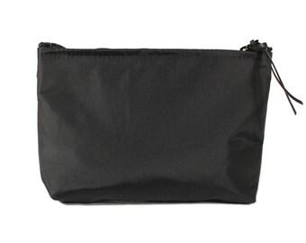 "7"" Black Nylon fabric cosmetic bag/pouch"