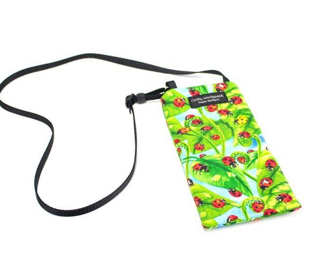 Eyeglass case for readers - Ladybug fabric Eyeglass Reader Case -with adjustable neck strap lanyard