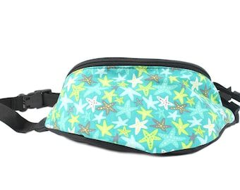 Fanny pack Starfish fabric - Cute  - Hip Waist Bag for travel, sport, and hiking with 2-zippered compartments