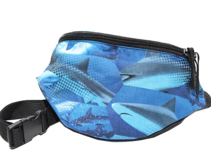 Fanny pack Ocean Reef Shark fabric - Cute  - Hip Waist Bag for travel, sport, and hiking with 2-zippered compartments