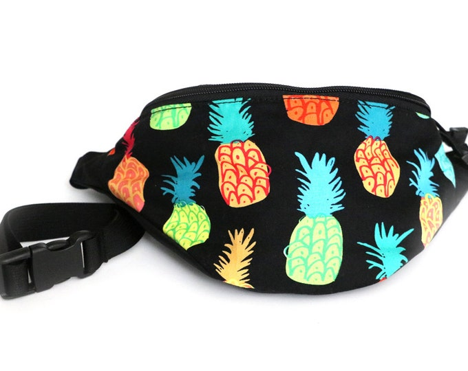 Fanny pack Colorful Pineapple fabric  - Hip Waist Bag with 2-zippered compartments
