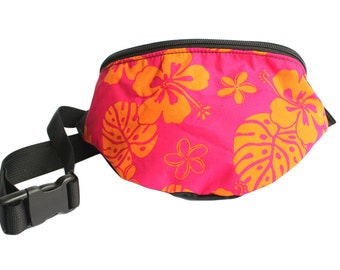Fanny pack Pink and Orange Hawaiian Hibiscus Tropical Floral Print - Cute  - Hip Waist Bag for travel, sport, and hiking