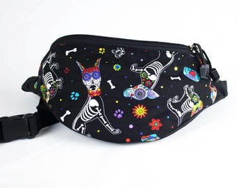 Fanny pack Dia De Los Muertos Dog Perro fabric - Cute  - Hip Waist Bag - 2 Zippers