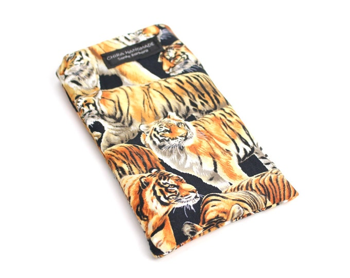 Eyeglass case for readers - Bengal Tiger fabric   checkbook case or cell phone pouch.