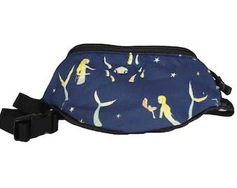 Fanny pack Mermaid Narwal Sea fabric - Cute  - Hip Waist Bag - 2 Zippers