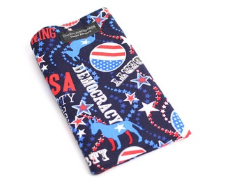 Democrat Blue fabric Eyeglass Reader Case. Multi-functions as a checkbook case or cell phone pouch.