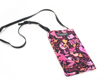 Heart Love fabric Eyeglass Reader Case -with adjustable neck strap lanyard