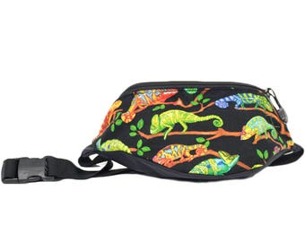 Fanny pack Rainbow Gecko Lizard  - Hip Waist Bag with 2 zippered pockets