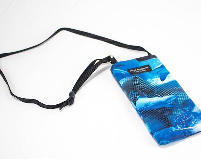 Eyeglass case for readers - Shark fabric Eyeglass Reader Case -with adjustable neck strap lanyard