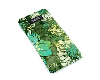 Eyeglass case for readers - Green Batik Floral fabric   checkbook case or cell phone pouch.