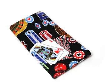 Casino fabric Eyeglass Reader Case. Multi-functions as a checkbook case or cell phone pouch.