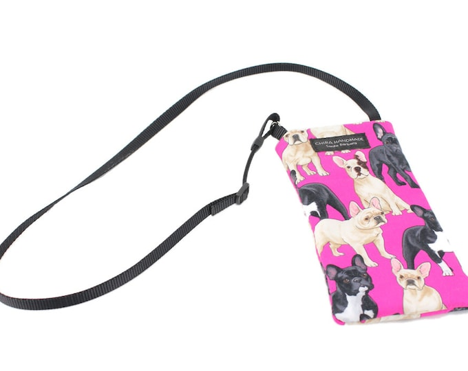 Eyeglass case for readers - French Bulldog fabric Eyeglass Reader Case -with adjustable neck strap lanyard