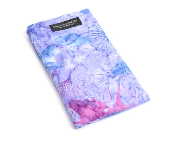 Batik Lavender floral fabric Eyeglass Reader Case. Multi-functions as a checkbook case or cell phone pouch.
