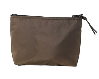 """7"""" Chocolate Brown Nylon fabric cosmetic bag/pouch"""