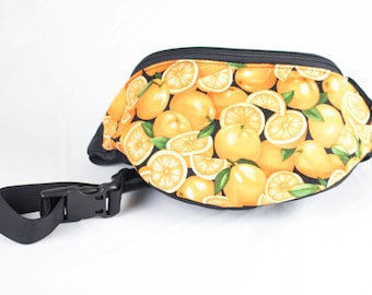Fanny pack Orange fruit fabric - Cute  - Hip Waist Bag - 2 Zippers