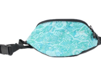 Fanny pack Batik Aqua Blue Owl fabric  - Hip Waist Bag for travel, sport, and recreation with 2-zippers