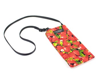 Strawberry fabric Eyeglass Reader Case -with adjustable neck strap lanyard