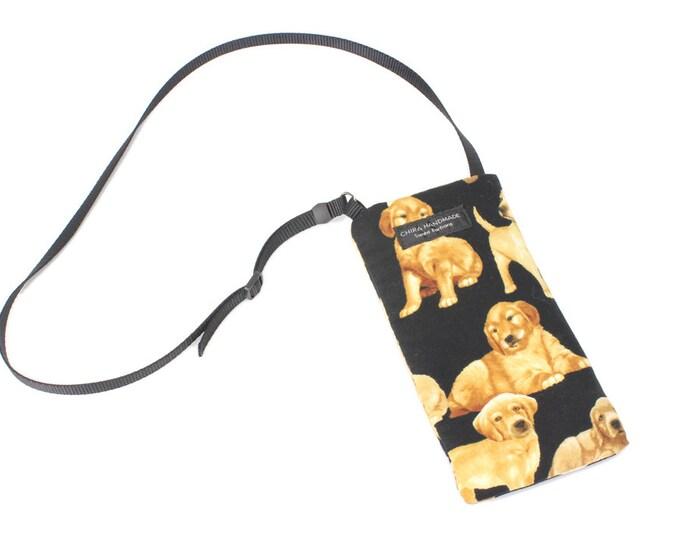Eyeglass case for readers - Golden Retriever Puppy Dog fabric Eyeglass Reader Case -with adjustable neck strap lanyard