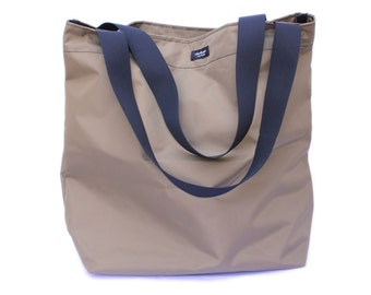 Khaki Tan Basic Market Tote made from 100% Nylon --durable, lightweight, water-resistant, washable.