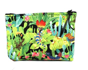 "7"" Desert Oasis fabric cosmetic bag/pouch"
