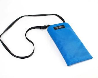 Sky Blue nylon fabric Eyeglass Reader Case -with adjustable neck strap lanyard