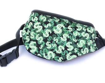 Fanny pack Green Money Bag - Cute  - Hip Waist Bag with 2-zippers
