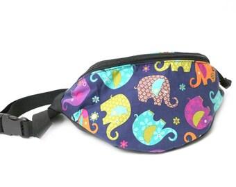 Fanny pack Elephant Bounce  - Hip Waist Bag with 2 zippered pockets