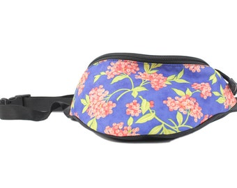 Fanny pack Goji Berry fabric - Cute  - Hip Waist Bag for travel, sport, and hiking with 2-zippered compartments
