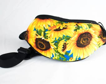 Fanny pack Sunflower fabric - Cute  - Hip Waist Bag - 2 Zippers