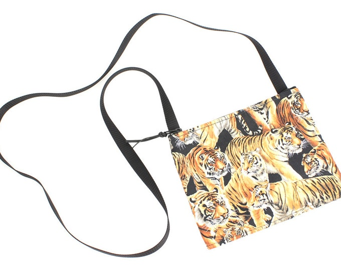 Mini crossbody bag - Bengal Tiger fabric  perfect for travel or a night out!