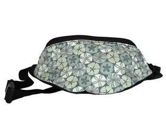 Fanny pack Sand dollar fabric - Cute  - Hip Waist Bag - 2 Zippers