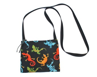 Mini crossbody bag - Gecko Lizard fabric  perfect for travel or a night out!