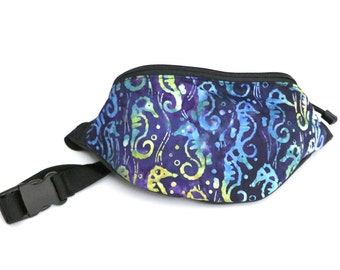 Fanny pack Batik Blue Seahorse fabric  - Hip Waist Bag with 2-zippered compartments