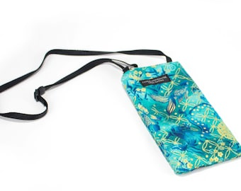 Koi fish fabric Eyeglass Reader Case -with adjustable neck strap lanyard
