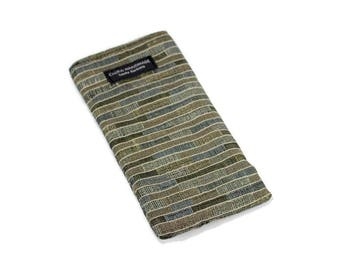 Horizontal lines upholstery fabric Eyeglass Reader Case. Multi-functions as a checkbook case or cell phone pouch.