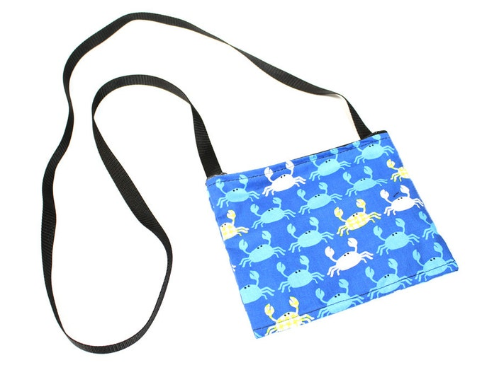 Mini crossbody bag - Blue Crab fabric  perfect for travel or a night out!