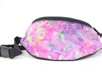 Fanny pack Batik PInk Purple Dragonfly fabric - Cute  - Hip Waist Bag for travel, sport, and hiking 2-zippered compartments