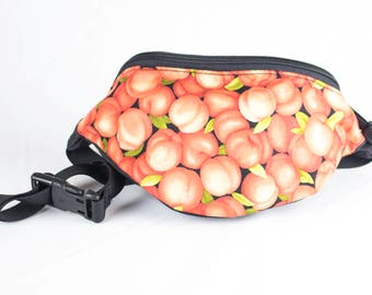 Fanny pack Apricot fabric - Cute  - Hip Waist Bag - 2 Zippers