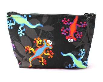 Gecko Lizard cosmetic bag/pouch - 9""