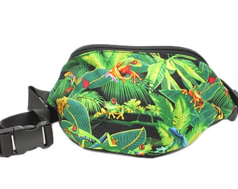 Fanny pack Rainforest Frog fabric  - Hip Waist Bag for sports, travel, and walking!