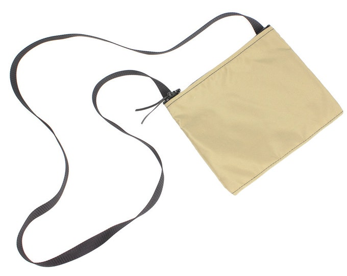 Mini crossbody bag - Khaki Tan Nylon fabric  perfect for travel or a night out!
