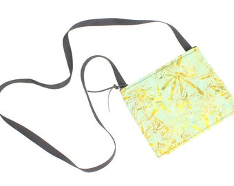 Hemp print fabric mini crossbody bag, perfect for travel or a night out!