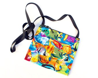 Mini crossbody bag - Tropical World fabric  perfect for travel or a night out!