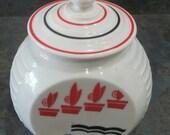 Vintage Hocking Vitrock Glass Flower Pot Design Grease Jar 1940 Era