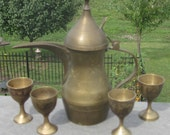 Vintage Etched Arabian Dallah Tea Pot and 4 Cups 1950 Era