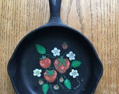 No 3 Wagner Ware Skillet 6 1 2 Inch with Hand Painted Strawberries