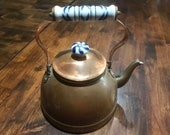 Vintage Gooseneck Copper Teapot with Blue and White Porcelain Handle and Knob on Lid