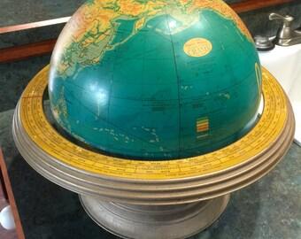 12 Inch Pysical Political Cram's Terrestrial Table Globe 1960 Era